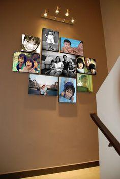 55 ausgefallene Bilderwand und Fotowand Ideen Photo Wall itself-make-the-stairs space