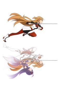 Yuuki Asuna with Konno Yuuki's Ghost - Sword Art Online Manga Anime, Sao Anime, Arte Online, Online Art, Online Anime, Desenhos Love, Sword Art Online Wallpaper, Accel World, Kirito Asuna