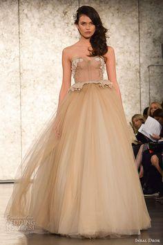 inbal drori fall 2016 wedding dresses bridal week runway fashion strapless sweetheart neckline champange color wedding ball gown dress