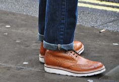 Jeans turned up and brogues. #fashion #shoes