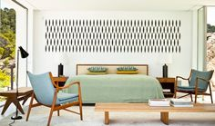 Relaxed mid-century bedroom