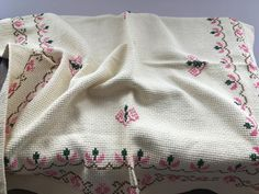 Your place to buy and sell all things handmade Pink Table, Crochet Potholders, Linen Tablecloth, Vintage Table, Wall Tapestry, Red Green, Cross Stitch, Shabby, Etsy
