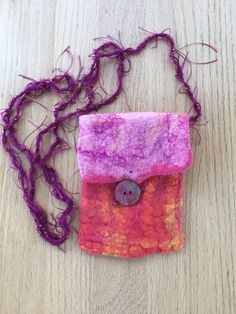 Hand felted cross-body bag small pink and by DunroaminFarmDesign