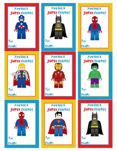 Lego Superhero Valentine's Day Cards Valentine's by EandLdesigns