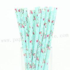Pink Rose Flower Teal Paper Straws 500pcs http://www.paperstrawssale.com/pink-rose-flower-teal-paper-straws-500pcs-p-1207.html