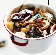Bouillabaisse Recipe- fantastic! I used lobster, clams, mussels, bay scallops, grouper and shrimp. And added celery, carrots and corn cobs. Other than that I followed the recipe. I made the stock from the lobster and shrimp shells. I toasted some French bread on the bias, and didn't bother with the rouille. Do not skip the saffron! Absolutely delicious! (Recipe makes A LOT, easily 8 people)