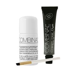 Combinal Cream Hair Dye (Black) .5 oz with Brush & 5% Hydrogen Peroxide .7 oz. Combinal Cream Hair Dyes penetrate deep into the hair structure. Delivers maximum color intensity. Long lasting glossy shine and high coverage results, lasts up to 8 weeks, results in 8 to 10 minutes. 5% Peroxide helps achieve correct consistency when blending two products together. Set includes 1 tube of Black, applicator brush, and one bottle of Peroxide.