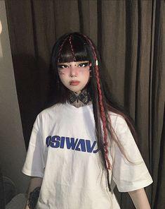 #ulzzang #ulzzanggirl #ulzzangstyle Aesthetic Indie, Aesthetic Hair, Aesthetic Clothes, Alternative Girls, Alternative Outfits, Alternative Makeup, Edgy Outfits, Grunge Outfits, Cute Outfits