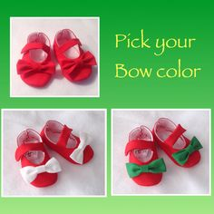 Newborn, infant, Toddler shoes. These are great keepsakes for your child's First Christmas! Hang them on the tree next year for a cute ornament! www.2fab.etsy.com $20. Get them personalized for $5 more.