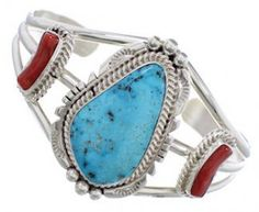 MATERIALS:Sterling silver, Turquoise, and Coral.MEASUREMENTS:The inner bracelet circumference measures approximately ......Price - $199.99-ivZqJLqJ