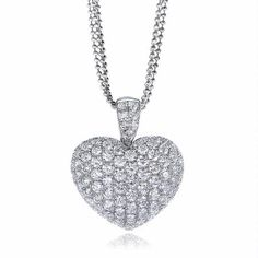 This marvelous 18k white gold heart pendant necklace, designed in Italy, features round brilliant cut white diamonds, pave set, of F color, VS2 clarity and excellent cut and brilliance weighing 2.82 carats total. You`ll love this pendant! $4,750