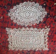Check out A Set of Two Beautiful, Vintage, Ecru, Handmade, Cotton, Tatting Lace Doilies for a Dressing Table. on fleursenfrance