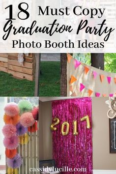 Graduation Party photo booth ideas that you need to see. These grad party photo booth ideas are perfect for outdoor or indoor graduation parties. Match your photo booth to your graduation parties theme. Vintage Graduation Party, Outdoor Graduation Parties, Graduation Party Games, Graduation Party Centerpieces, Graduation Party Decor, Graduation Ideas, College Graduation, Graduation Quotes, Grad Parties