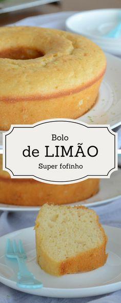 Bolo super fofinho de limão Sweet Recipes, Cake Recipes, Confort Food, Delicious Desserts, Yummy Food, Cakes Plus, Portuguese Recipes, Sweet Cakes, Love Food