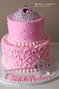 Simple Pink Princess Cake for Kaylee and Brianna's party put both names and ages across the front!