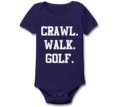 CRAWL WALK GOLF - funny golfing balls clubs kids pool maternity newborn baby girl boy gift outfit clothes - Baby Snap One Piece e1621 on Etsy, $8.90
