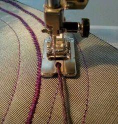 Of Fabrics Embellishments / Textiles Decoration Techniques Fabric manipulation - embellishment - Tute for couching techniques for fabric embellishment.Fabric manipulation - embellishment - Tute for couching techniques for fabric embellishment. Quilting Tips, Quilting Tutorials, Sewing Tutorials, Sewing Patterns, Sewing Stitches, Dress Patterns, Free Tutorials, Coat Patterns, Knitting Patterns