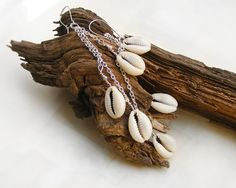 Cowrie shell Earrings with long chain, $21.90