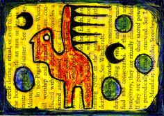 the witches' circle e9Art ACEO Outsider Art Brut Pagan Painting Primitive OOAK #OutsiderArt