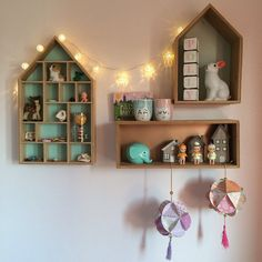Little house shaped wall shelves, Sonny Angel dolls, Norsu elephant coin bank, Woodland rabbit night light