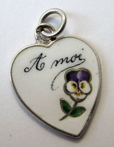 'Think of me' French silver and enamel rebus charm. www.sandysvintagecharms.com