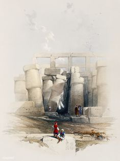 Part of the hall of columns at Karnak Thebes illustration by David Roberts - Ancient Egyptian Paintings, Egyptian Drawings, Egyptian Art, Life In Ancient Egypt, Life In Egypt, Ancient Greek, Oriental, Exotic Art, David