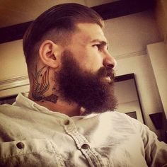big bushy beard and mustache beards bearded man men undercut hair hairstyle tattoos tattooed handsome