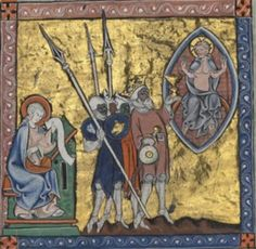 Soldaten mit Buckler, BNF Français 13096 Bible, fol. 52v, 1313, Belgien.