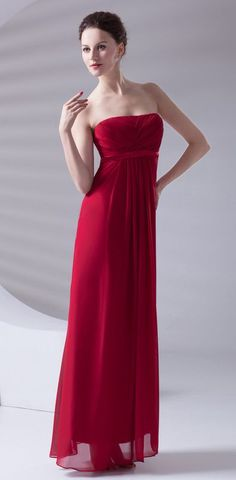 Red Prom Dresses 2017 A-line Strapless Sleeveless Empire Lace-up Floor-Length Chiffon