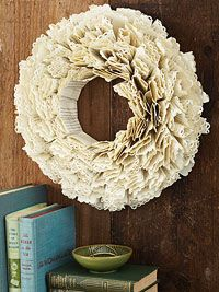 By-the-Book Wreath Give book pages a dramatic redo with frilly, border-punched edges. Folded and stacked strips round it out. Easy Crafts, Arts And Crafts, Paper Crafts, Paper Art, Book Page Wreath, Book Page Crafts, Recycled Books, Thing 1, Book Making