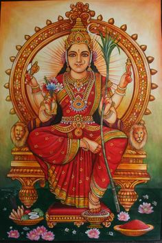 Learn ancient methods of worship for the Hindu Gods and Goddesses using Sanskrit mantra, yantra, mudra, and pranayama. Indian Goddess, Goddess Lakshmi, Goddess Art, Sacred Feminine, Divine Feminine, Feminine Energy, Tanjore Painting, Durga Painting, Saree Painting