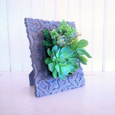 I could start out small with a picture frame! Vertical Succulent Planter Garden by VerticalFlora on Etsy, $70.00