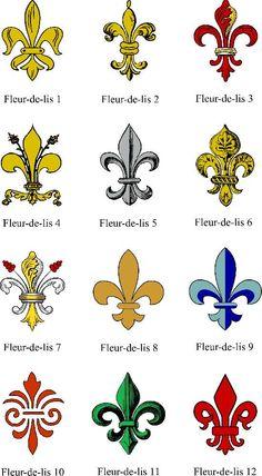 Various Fleur de lis French Symbols, Stencil Patterns, Coat Of Arms, Spiritual Meaning, Acanthus, Zentangle, Louisiana, Mardi Gras, Stencils