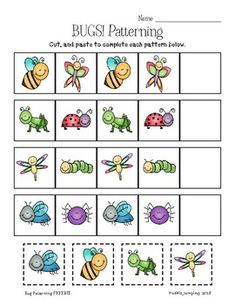 Patterning for Preschool and Kindergarten FREEBIE Preschool Letter B, Letter B Activities, Bug Activities, Free Preschool, Preschool Worksheets, Teachers Pay Teachers Freebies, Math Patterns, Kindergarten Freebies, Puddle Jumping