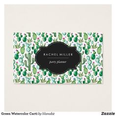 Shop Green Watercolor Cacti Business Card created by Personalize it with photos & text or purchase as is! Art Business Cards, Watercolor Business Cards, Business Card Design, Watercolor Plants, Green Watercolor, Watercolor Background, Gray Background, Watercolor Artists, Cactus Backgrounds