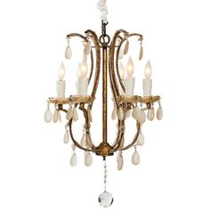 Gilded French Flea Market Chandelier ($1,295) ❤ liked on Polyvore featuring home, lighting, ceiling lights, golden chandelier, teardrop lamp, french chandelier, teardrop lights and french lighting
