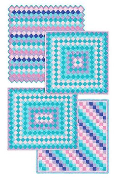 Inspiration :: Different lay-outs for single crochet entrelac, or simple squares of any kind. (A great video tutorial for entrelac by Teresa Richardson at this link ~ http://crochet-mania.blogspot.com/search?q=entrelac ) #crochet #afghan #blanket #throw
