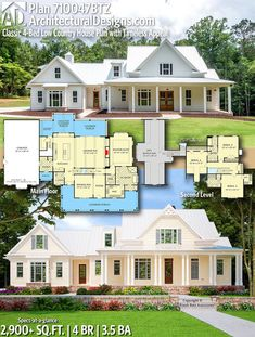 Plan Classic Low Country House Plan with Timeless Appeal – farmhouse plans Low Country Homes, Country House Plans, New House Plans, Dream House Plans, Dream Houses, 4000 Sq Ft House Plans, Large House Plans, Two Story House Plans, Farmhouse Floor Plans