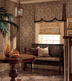 Istanbul Damask wallpaper & fabric by Thibaut from Tamarind Collection room shot - Master Bedroom Drapery, Valance Curtains, Damask Wallpaper, Home Upgrades, Tamarind, Window Ideas, Blank Walls, Wall Decorations, Woodstock