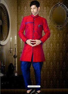 Amazing Red Jacquard Indo Western Sherwani Model: YOSHV281