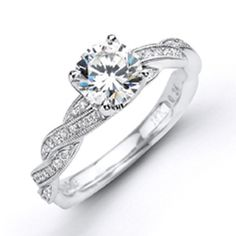 Simon G 18K White Gold 0.10 Carat Diamond Twist Engagement Ringhttp://www.bengarelick.com/collections/simon-g/products/simon-g-18k-white-gold-0-10-carat-diamond-twist-engagement-ring$1,200.00