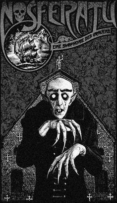 Love this beautiful Nosferatu poster! Horror Icons, Horror Movie Posters, Original Movie Posters, Film Posters, Arte Horror, Horror Art, Dracula, Horror Monsters, Classic Horror Movies