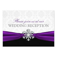 Purple Ribbon Winter Wedding Reception Card
