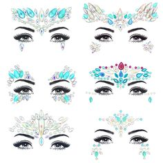 Noctilucent Face Gems Luminous Temporary Tattoo Stickers Acrylic Crystal Glitter Stickers Waterproof Face Jewels Rainbow Tears Rhinestone for Party, Rave Festival, Dress-up of ZLXIN(6 Pcs A Set) ** Want to know more, click on the image. (As an Amazon Associate I earn from qualifying purchases)
