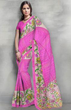 Art Silk Printed Pink Casual Saree