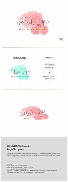 Blush Life Watercolor Logo Template https://creativemarket.com/MeeraG/953730-Blush-Life-Watercolor-Logo-Template #design #art #graphicdesign