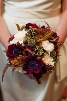 Fall wedding bouquet - interesting. Like the textures