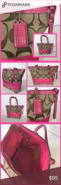 """Coach Signature Stripe Tote Jacquard with Pink stripe and patent leather straps. Zip closure. Interior is lined with pink fabric and has 3 pockets (1 zips). Strap drop is 8"""". Excellent used condition. Coach Bags Shoulder Bags"""