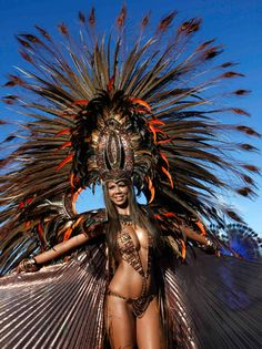 A woman takes part in a carnival at Queen's Park Savannah, Port of Spain, Trinidad & Tobago