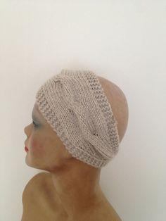 Beige  Hand Knitted Headband Ear Warmer by NesrinArt on Etsy, $15.00